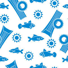 Pattern with fish, sun, inflatable mattress.