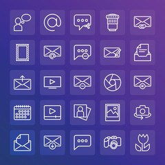 Modern Simple Set of chat and messenger, video, photos, email Vector outline Icons. ..Contains such Icons as  person,  lens,  picture and more on gradient background. Fully Editable. Pixel Perfect.