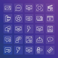 Modern Simple Set of chat and messenger, video, photos, email Vector outline Icons. ..Contains such Icons as  phone, cinema, camera and more on gradient background. Fully Editable. Pixel Perfect.