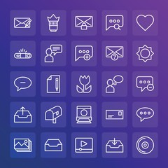 Modern Simple Set of chat and messenger, video, photos, email Vector outline Icons. ..Contains such Icons as  outline,  media, letter and more on gradient background. Fully Editable. Pixel Perfect.