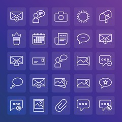 Modern Simple Set of chat and messenger, video, photos, email Vector outline Icons. ..Contains such Icons as paperclip,  landscape,  sms and more on gradient background. Fully Editable. Pixel Perfect.