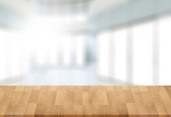 Wooden board empty table  window blurred background can be used for display or montage your products and Mock up