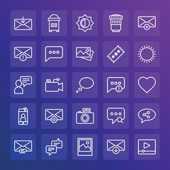 Modern Simple Set of chat and messenger, video, photos, email Vector outline Icons. ..Contains such Icons as  equipment, download,  get and more on gradient background. Fully Editable. Pixel Perfect.