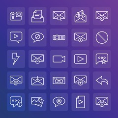 Modern Simple Set of chat and messenger, video, photos, email Vector outline Icons. ..Contains such Icons as message,  mail,  envelope and more on gradient background. Fully Editable. Pixel Perfect.