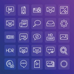 Modern Simple Set of chat and messenger, video, photos, email Vector outline Icons. ..Contains such Icons as  picture,  camera,  icon and more on gradient background. Fully Editable. Pixel Perfect.