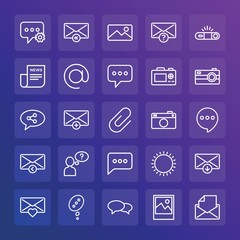 Modern Simple Set of chat and messenger, video, photos, email Vector outline Icons. ..Contains such Icons as  photography,  speech,  add and more on gradient background. Fully Editable. Pixel Perfect.