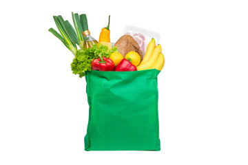 Food and groceries in green eco-friendly reusable shopping bag