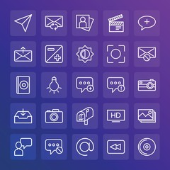 Modern Simple Set of chat and messenger, video, photos, email Vector outline Icons. ..Contains such Icons as bulb,  person, hd,  compact and more on gradient background. Fully Editable. Pixel Perfect.
