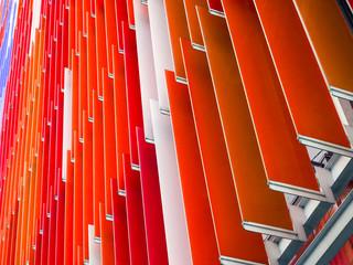 acrylic plastic sheet interior slope bottom 45 degree and orange white red