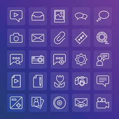 Modern Simple Set of chat and messenger, video, photos, email Vector outline Icons. ..Contains such Icons as  letter,  picture,  lens and more on gradient background. Fully Editable. Pixel Perfect.