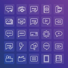 Modern Simple Set of chat and messenger, video, photos, email Vector outline Icons. ..Contains such Icons as  sms,  compact,  picture and more on gradient background. Fully Editable. Pixel Perfect.