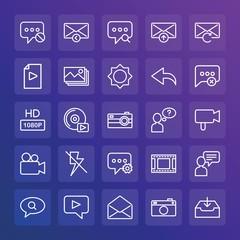 Modern Simple Set of chat and messenger, video, photos, email Vector outline Icons. ..Contains such Icons as  vector,  background,  icon and more on gradient background. Fully Editable. Pixel Perfect.