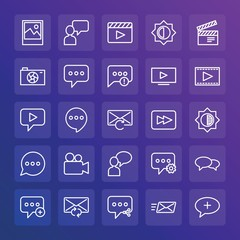 Modern Simple Set of chat and messenger, video, photos, email Vector outline Icons. ..Contains such Icons as outdoors,  message,  movie and more on gradient background. Fully Editable. Pixel Perfect.