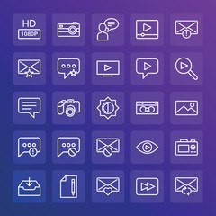 Modern Simple Set of chat and messenger, video, photos, email Vector outline Icons. ..Contains such Icons as  quality, reload, hd,  text and more on gradient background. Fully Editable. Pixel Perfect.
