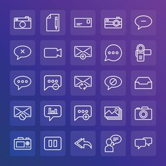 Modern Simple Set of chat and messenger, video, photos, email Vector outline Icons. ..Contains such Icons as  close,  reply,  video and more on gradient background. Fully Editable. Pixel Perfect.