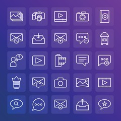Modern Simple Set of chat and messenger, video, photos, email Vector outline Icons. ..Contains such Icons as  technology,  communication and more on gradient background. Fully Editable. Pixel Perfect.