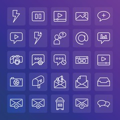 Modern Simple Set of chat and messenger, video, photos, email Vector outline Icons. ..Contains such Icons as  cellular, open,  media and more on gradient background. Fully Editable. Pixel Perfect.
