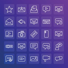 Modern Simple Set of chat and messenger, video, photos, email Vector outline Icons. ..Contains such Icons as  problem, camera,  forward and more on gradient background. Fully Editable. Pixel Perfect.