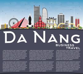 Da Nang Vietnam City Skyline with Color Buildings, Blue Sky and Copy Space.