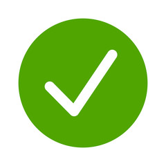 Green check circle, done or complete flat vector icon for apps and websites