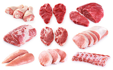 Foto op Plexiglas Vlees Collection of meat. Beef, pork, chicken. Different parts of meat.
