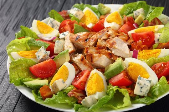 close-up of delicious american cobb salad