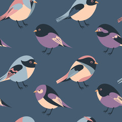 cartoon feathered and winged birds seamless background