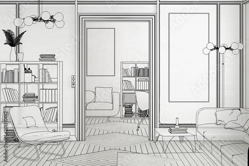 """Apartment Einrichtung projekt einer apartment-einrichtung (vorschau)"""" stock photo and"""