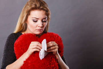 Sad, heartbroken woman crying having depression