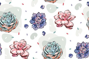 Hand drawn vector abstract ink graphic brush textured sketch drawing seamless pattern with blossom succulent flowers in pastel colors isolated on white background.Modern floral fashion print design