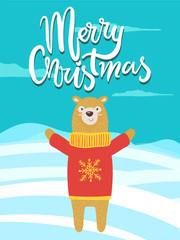 Merry Christmas Banner Congratulation from Bear