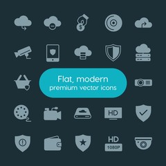 Modern Simple Set of money, cloud and networking, security, video Vector fill Icons. ..Contains such Icons as security,  star,  travel,  usd and more on dark background. Fully Editable. Pixel Perfect.
