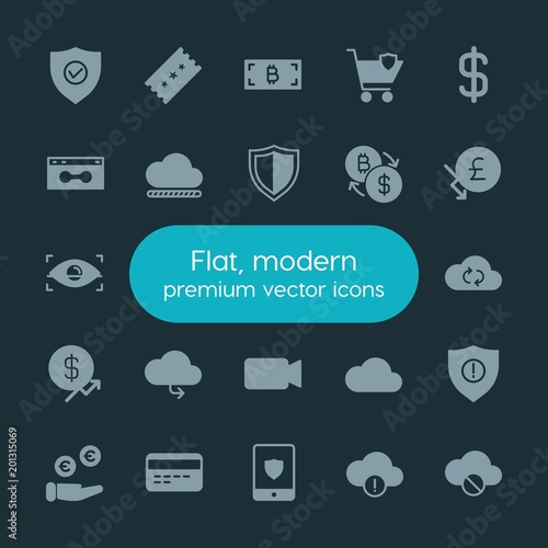 Modern Simple Set of money, cloud and networking, security