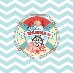 marine elements. scrapbook, greeting card, poster, logo