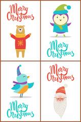 Merry Christmas Bear and Bird Vector Illustration