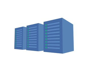 Server rack with three blue servers. Server farm, data center. Concept vector illustration. Isolated on white background. GDPR, RGPD, DSGVO concept illustration. General Data Protection Regulation.