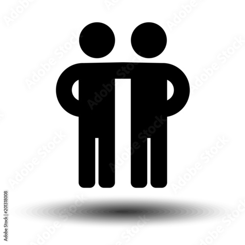 Friends Icon In Trendy Flat Style Isolated On Grey Background