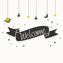 Welcome card design with hand drawn ribbon banner and stars, vector illustration