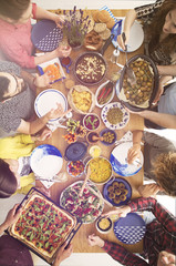 Table full of vegetarian food