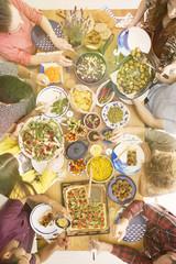 Friends eating vegetarian meal