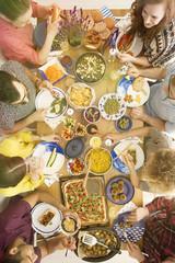 People during organic, bio meal