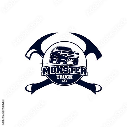 Monster Truck Logo Badge Off Road Car Logo With Hammer Symbol
