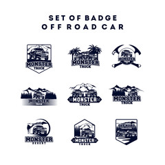 Set of Monster Truck Logo Badge, Off Road Car Logo with Mountain and Forest vector illustration