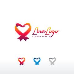Heart ribbon abstract logo vector design template, Creative love Logo symbol