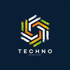 Modern Hexagon tech logo designs concept vector, Hexa Technology logo with pixel symbol