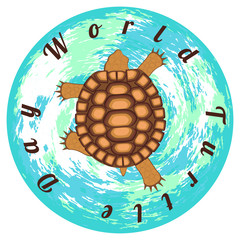 World Turtle Day. Reptile turtle. Background of the Earth