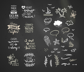 Vector chalk lettering and doodle clipart on sea / ocean theme.