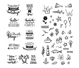 Vector hand-drawn lettering and doodle clipart on sea / ocean theme.