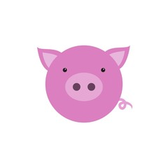 Funny face of a pink piglet. Vector illustration. Icon.