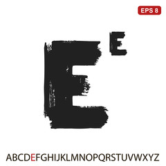 "Black capital handwritten vector letter ""E"" on a white background. Drawn by semi-dry brush with unpainted areas."